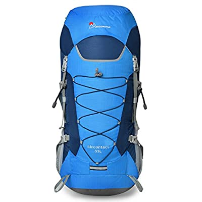 Mardingtop 55L Water-resistant Internal Frame Backpack Hiking Backpacking Packs for Outdoor Hiking Travel Climbing Camping Mountaineering with Rain Cover-6806MEW