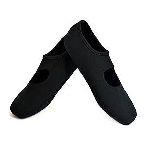 NuFoot Mary Janes Women's Shoes, Best Foldable & Flexible Flats, Slipper Socks, Travel Slippers & Exercise Shoes, Dance Shoes, Yoga Socks, House Shoes, Indoor Slippers, Black, Large