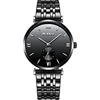 Men Watches Fashion Stainless Steel Strap Analog Quartz Wrist Watch Business Luxury Simple Style Designed Bracelet Watches Waterproof 30M with Black Dial