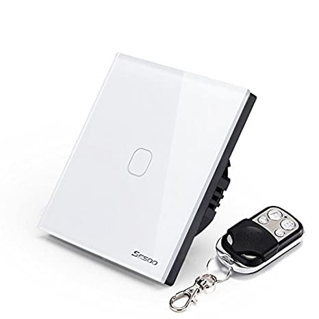 sesoo mando a distancia interruptor 1 Gang 1 Way Touch interruptor de pared Panel de vidrio