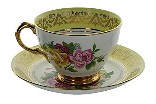 Vintage Regency England Genuine English Bone China Yellow & Gold Gilt Rose Pattern Tea Cup and Saucer Set (Footed Teacup Saucer)