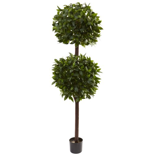 Nearly Natural 5398 Sweet Bay Double Ball Topiary, 6-Feet, Green