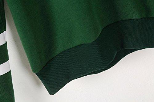 VENMO Mujer Otoño e invierno Camisetas De Manga Larga Raya Sudaderas con Capucha Moda Tops Blusa Verde