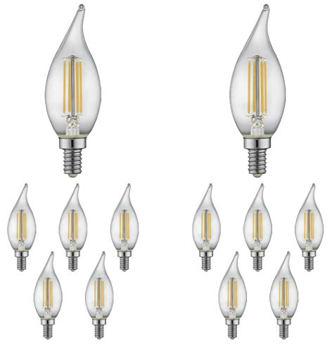 Watt Flame Tip Chandelier Bulb - TCP 60 Watt LED Flame Tip, 12 Pack, Soft White 2700K, Dimmable Candelabra Base (E12) Chandelier Light Bulbs