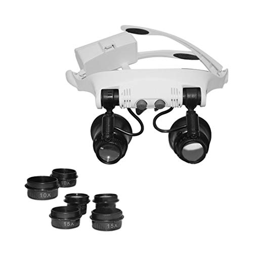 Baynne 9892GJ-3A Headband Head Wearing Magnifier with 2LED Light Multi-Lens Eye Loupe 10X 15X 20X 25X for Watch Jewelry Clock Repair