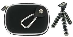 rooCASE 2n1 Nylon Hard Shell (Black) Case with Memory Foam and Premium Tripod for Panasonic Lumix DMC-FP3AB Digital Camera Blue