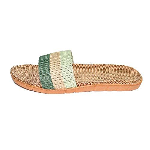 Home Summer Sweat Silent 4 Shoes Sandals Women green for Men Indoor HRFEER Slipper Linen Slippers a8waqB5