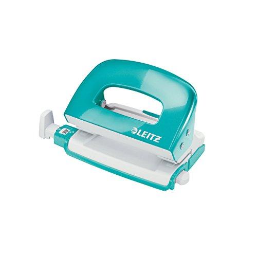Leitz 50601051 Mini Locher Nexxt WOW, Metall, 10 Blatt, eisblau