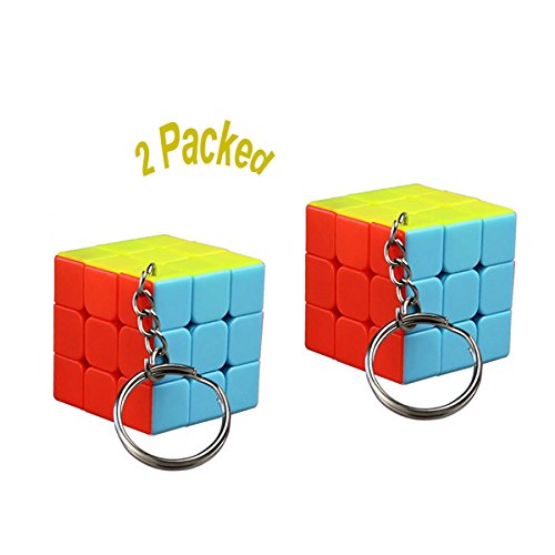 【2-Packed】Mini 3x3x3 Keychain Keyring Cube Jade Kylin Magic Speed Cube Twisty Puzzle Stickerless