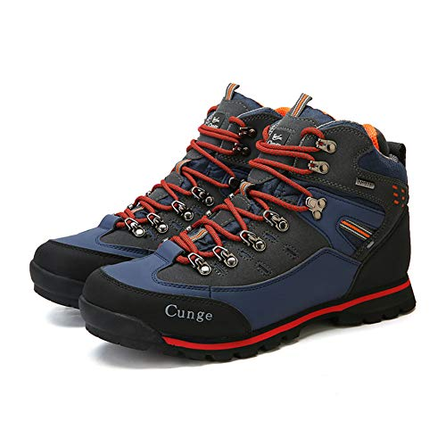 Image of CUNGE Hiking Boots Mens Waterproof Leather Trekking Shoes Outdoor Walking Climbing Sneakers Travel Training Shoes (9, Red)