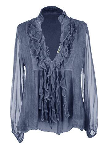 Ladies Women Italian Lagenlook Long Sleeve 3 Button Frill Tassel V Neck Silk TOP Blouse One Size (Cornflower Blue, One Size)