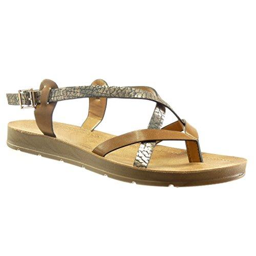 Angkorly - Chaussure Mode Sandale plateforme femme clouté bois brillant Talon compensé plateforme 2 CM - Camel