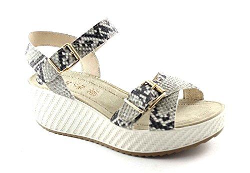 ENVAL suave del gris de las sandalias de cuña de las mujeres correa de piel de pitón hebillas 59831 Grigio