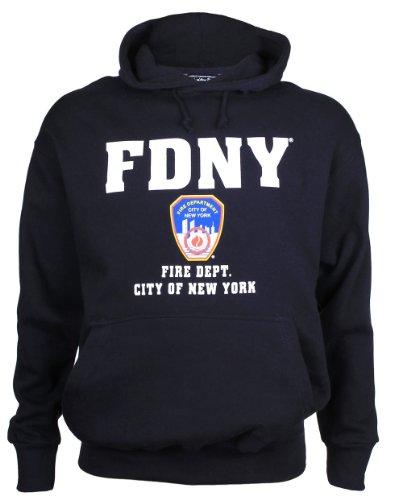 (FDNY Hoodie Sweatshirt New York City Fire Department Screen Printed Shield M)