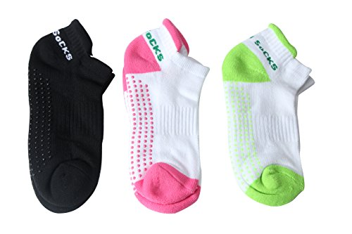 GreatMe Women's Yoga Socks Non Slip with Silicone Dot Free Size for Pilates Barre Sports Socks (Free Size (5-9), Set A)