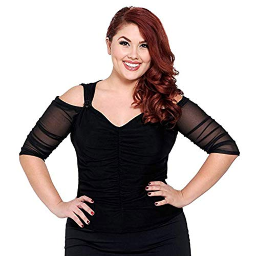 (2019 Women Mesh Shirt Blouses Both Side Wear Sheer Plus Size Seamless Arm Shaper Top (XL) Black)