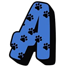 Dog - Cat Paw Prints With Blue Letter A Sticker For Mailbox / House Number / Trash Can / Wheelie Bin - Choose Number