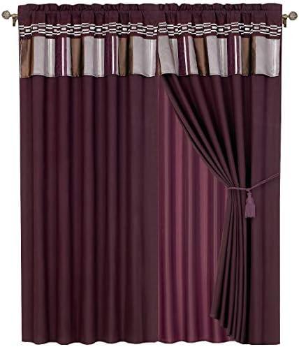 Royal Hotel Claudia Purple Curtains 2 x Panels 60×84 ea. - a good cheap window curtain panel