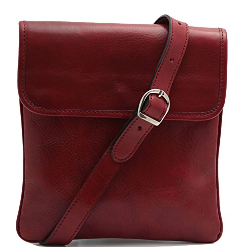 Tuscany Leather - Joe - Bolsillo unisex en piel Negro - TL140987/2 Rojo
