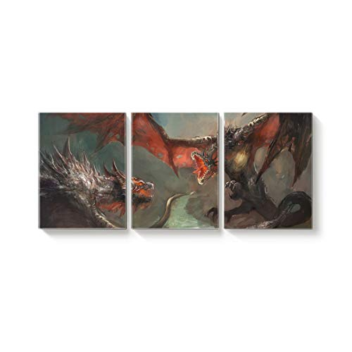 Arts Language 3 Pcs Canvas Wall Art Office Hotel Bedroom Living Room Home Decor,Monster Beast Pattern Canvas Art Oil Paintings,Pictures Modern Artworks,20 x 24in x 3 Panels