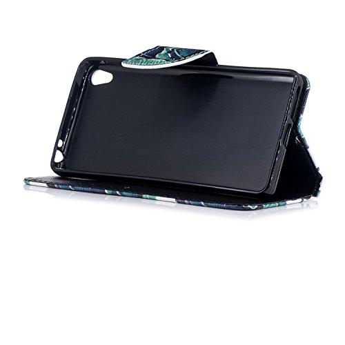 Funda Sony Xperia L1, Mosoris PU Leather Flip Cover + TPU Silicona Interna Carcasa, Case con Cierre Magnético y Función de Soporte, Ranuras para Tarjetas y Billetera Tapa, Protectora Anti Arañazos Cas Lace pattern