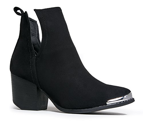 Tess Western Side Cut Bootie, Black Suede, 7.5 B(M) - Women Side Cut For