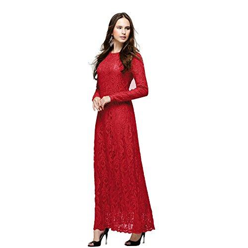 Mujeres Colores Manga de Túnica KINDOYO Árabe Lady Larga 5 Encaje Vestido Musulmán Vestidos Elegante Largos Rojo Caftán qdTwf