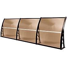 MCombo 40in×120in Window Awning Outdoor Polycarbonate Front Door Patio Cover Garden Canopy 6055-4012 (Dark Brown) (Renewed)