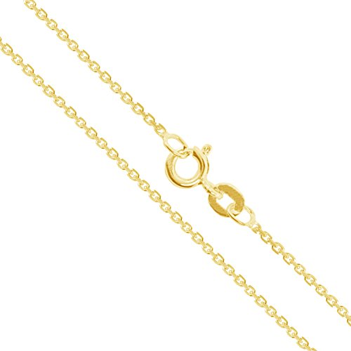 - 14k Yellow Gold Solid Cable Chain Round Rolo Link 0.9mm Necklace 22