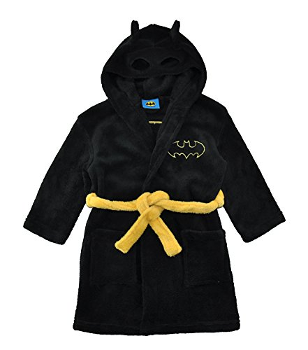 DC Comics Little/Big Boys' Batman Fleece Hooded Robe, Black 2T -