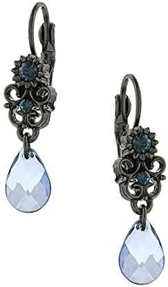 Black-Tone Blue Crystal Teardrop Earrings