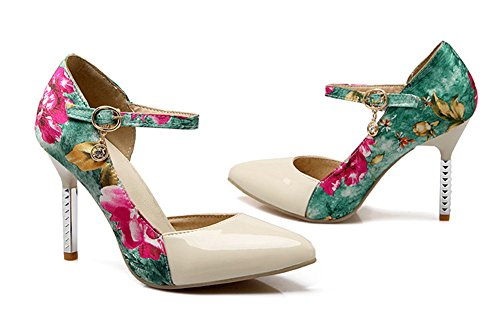 Floral Elegant Heels Womens Dress Pumps Toe Pointed Beige Strap High Shoes Aisun Dorsay Stiletto Ankle xS45wawE