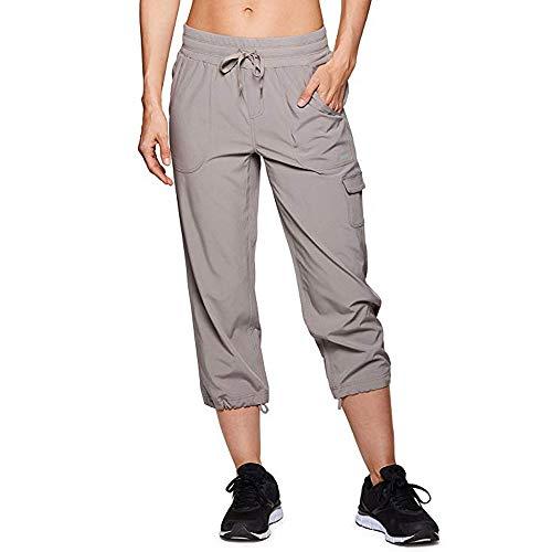 Womens Casual Pants Baggy Pockets Walking Cargo Lightweight Pants Trousers Khaki