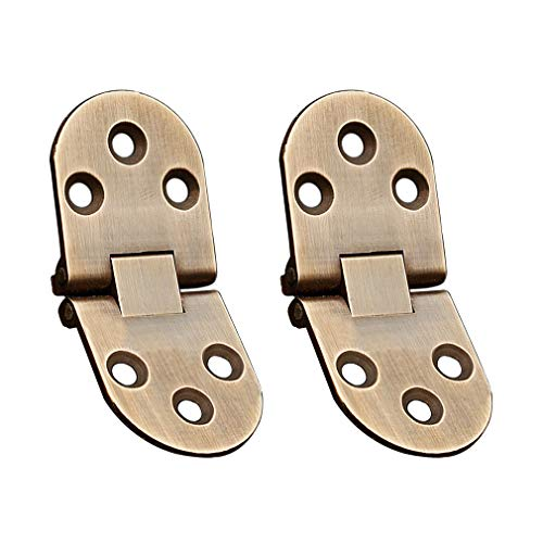 Tiazza 2Pcs Antique Brass Sewing Machine Table Folding Flip Top Hinges 180 Degree Heavy Duty Hinge for Folding Furniture (Antique Bronze)
