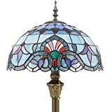 Tiffany Style Floor Standing Lamp 64 Inch Tall Pink Blue Stained Glass Baroque Shade 2 Light Antique Base for Bedroom Living Room Reading Lighting Table Set S003P WERFACTORY