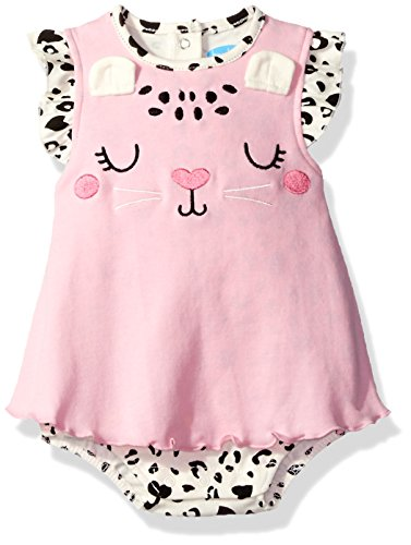 BON BEBE Baby Girls' 1 Piece Sundress with Built in Diaper Cover, Sweet Pink Kitty, 6-9 Months