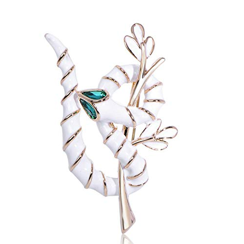Vivid Tree Branch Snake Shape Brooches Black Enamel Crystal Pin for Women Men Kids Jewelry Suit Collar Scarf Accessories,White from AMBER DAVIDSON