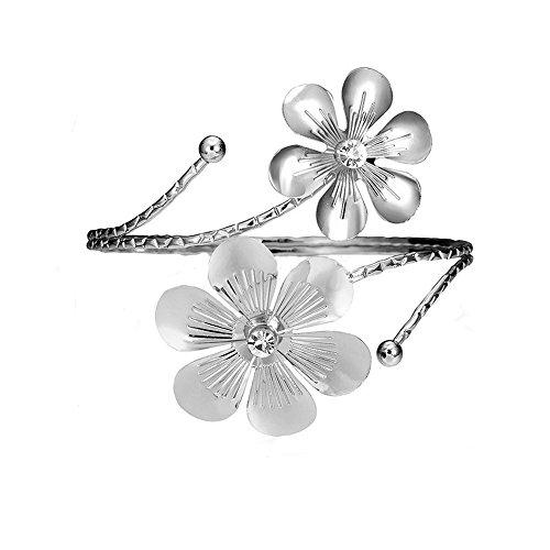 SENFAI 10K Gold Plated Swirl Upper Flower Arm Cuff Armlet Armband Bangle Bracelet for Womens (Silver) ()