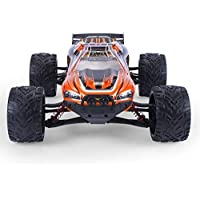 GPTOYS Hobby Grade RC Car LUCTAN S912, All Terrain 33+MPH 1/12 Scale Off Road Full Proportional Radio Controlled Electric Semi-Waterproof Monster 2WD Monster Truggy - Best Gift for Kids (Orange)