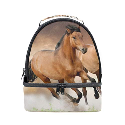 Lunch Bag Horse Couple Run Womens Insulated Lunch Tote Zipper Kids Lunch Box