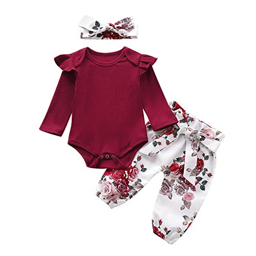 Newborn Infant Baby Girl Outfits Ruffle Romper Tops Floral Pants Headband Clothes Set (red, 6-12 Months) (Outfits Cute Day Christmas)