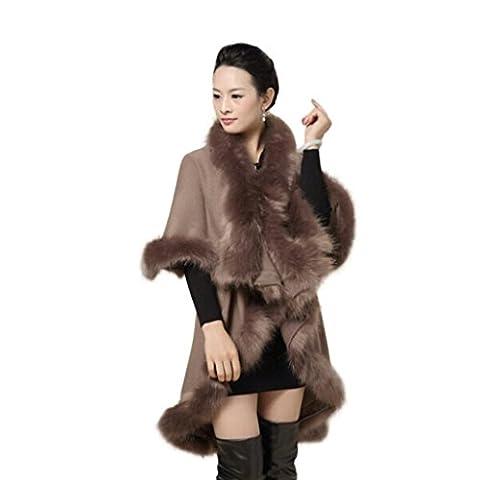 Mchoice Women's Faux Fur Collar Poncho Cape Stole Wrap Hoody Sweater Coat (Khaki)
