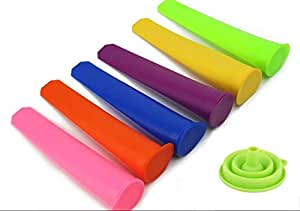 Silicone Popsicle Molds Bundle Includes Set of 6 Plus 1 Funnel , BPA and Odor Free Dishwasher Safe for Healthy Homemade Ice Pops