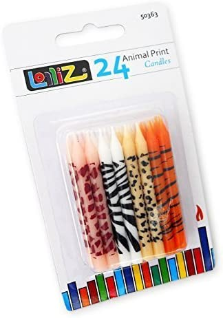 LolliZ velas de cumpleaños con estampado animal Pack de 24 ...