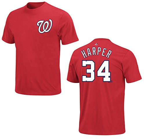 Majestic Bryce Harper Washington Nationals Red Youth Jersey Name and Number T-shirt Large 14-16