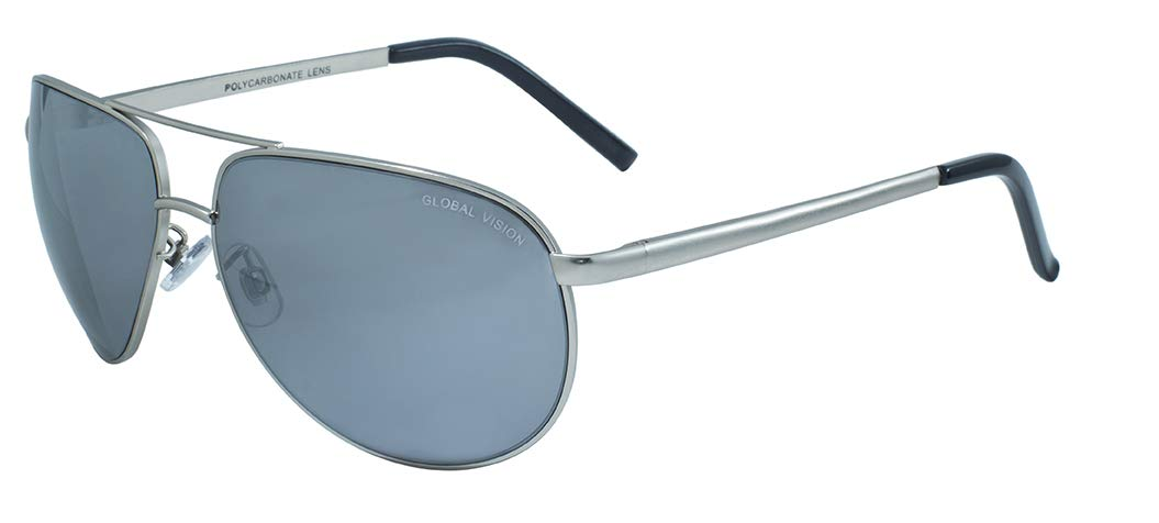 Global Vision Eyewear Aviator 4 AST Series Sunglasses with Flash Mirror Lenses Global Vision Eyewear Corp Aviator 4 FM