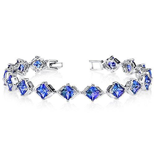 Simulated Alexandrite Bracelet Sterling Silver Princess Cut 12.00 Carats (Si1 Sapphire Bracelet)