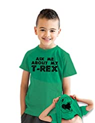 Youth Ask Me About My T-Rex T Shirt Funny Flip Up Trex Shirts For Kids S