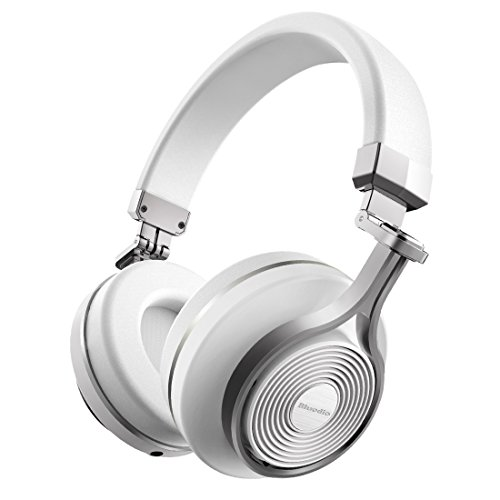 Bluedio T3 Extra Bass Bluetooth Headphones On Ear with Mic, 57mm Driver Folding Wireless Headset, Wired and Wireless Headphones for Cell Phone/TV/PC Gift (White)