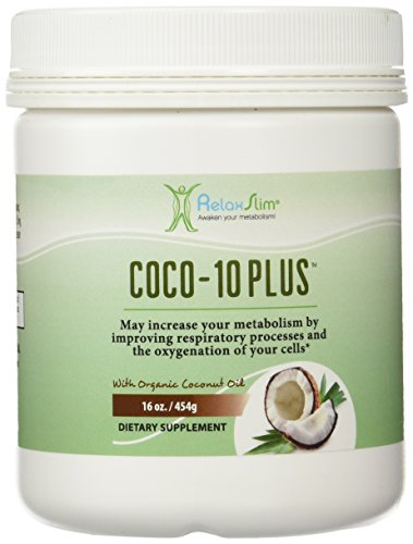 "RelaxSlim ""Super"" Organic Coconut Oil with CoQ10, Formulated by Obesity and Metabolism Specialist to Improve Energy Levels and Assist with Weight Loss- Natural Fat Burner to Support any Diet Attempt- 16 Ounces"
